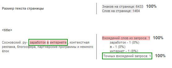 """пример использования модуля работы с внутренними факторами от Megaindex на примере блога sosnovskij.ru по запросу """"заработок в интернете"""""""