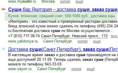 Обновленные сниппеты Яндекса для сайтов организаций