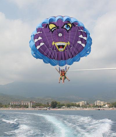 полет на парашюте - взлет