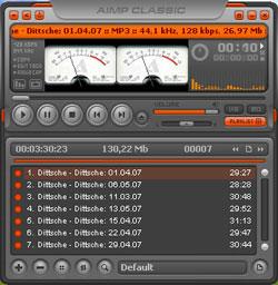 скриншот аудиоплеера aimp
