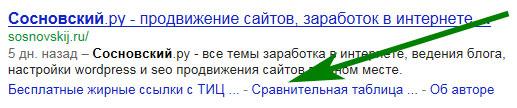 быстрые ссылки в выдаче Google