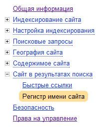 регистр имени сайта в выдаче Яндекса