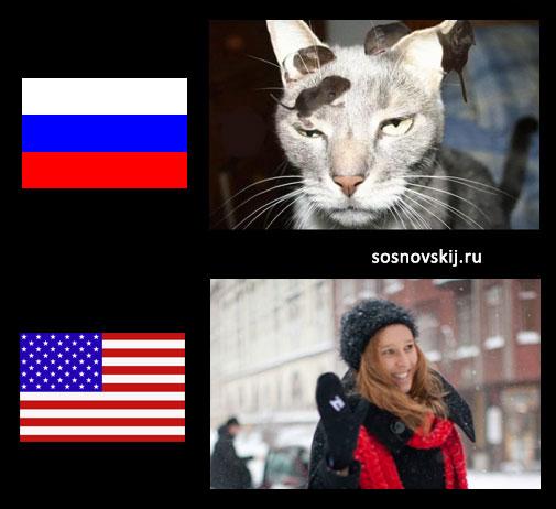 приветствия в США и России