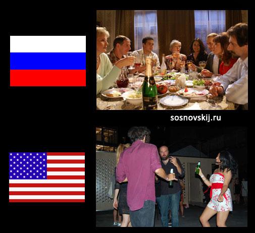 вечеринки в России и США