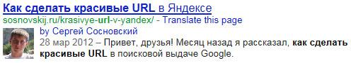 сведения об авторе в выдаче Google