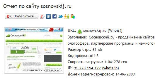пример анализа сайта с saitometr.ru