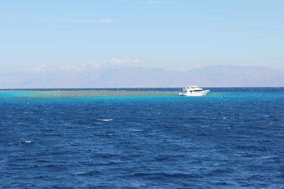 катер около кораллов в Дахабе