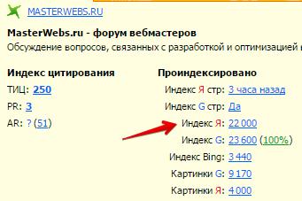 индексация форума masterwebs.ru в Яндексе