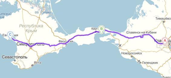 Маршрут Красндора-Порт Кавказ-Порт Крым-Евпатория