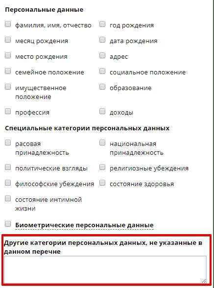 список персональных данных