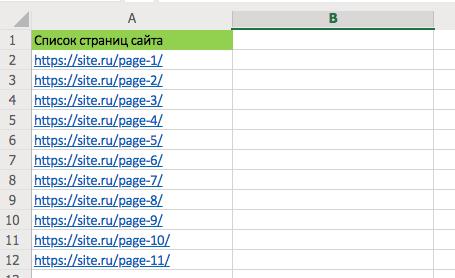 список страниц сайта