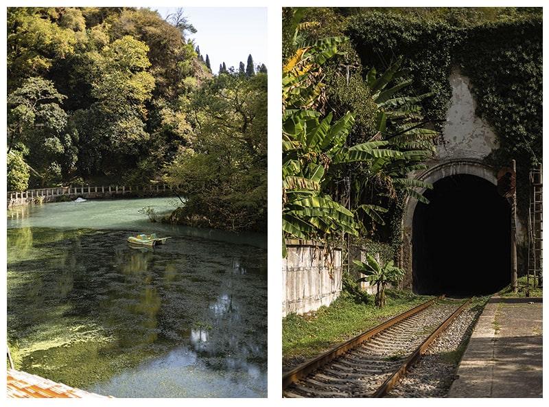 заброшенный катамаран и железнодорожный тоннель