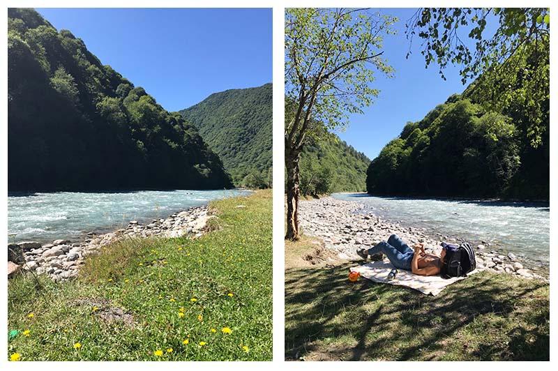 релакс на горной реке