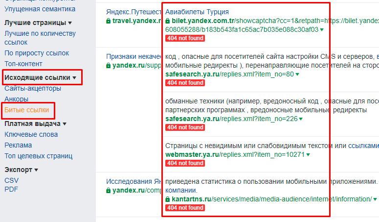 URL's с ответом 404 not found
