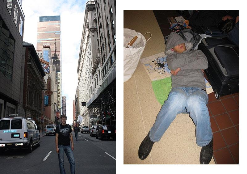 На улице Нью-Йорка и на вокзале