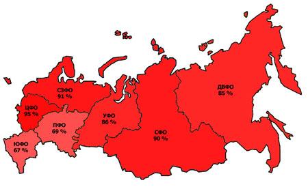 региональное продвижение сайтов - карта регионов России