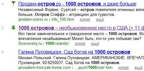 """5 место по запросу """"1000 островов"""""""