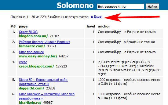 поиск обратных ссылок на сайт с помощью сервиса solomon.ru
