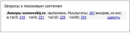 информация по входящим анкорам в поисковой системе яндекс (московская выдача)