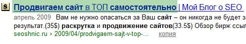 продвижение сайтов - выдача Яндекса