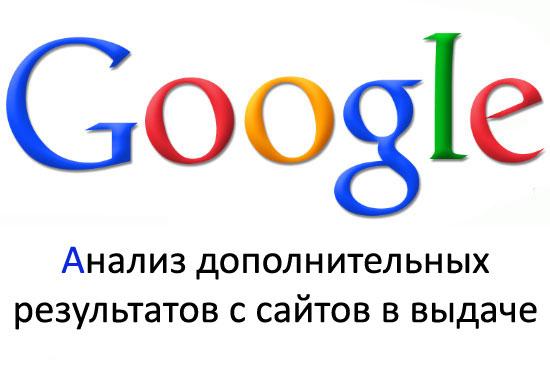 анализ дополнительных результатов с сайтов в выдаче google