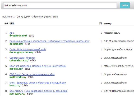 данные по ссылкам с solomono.ru
