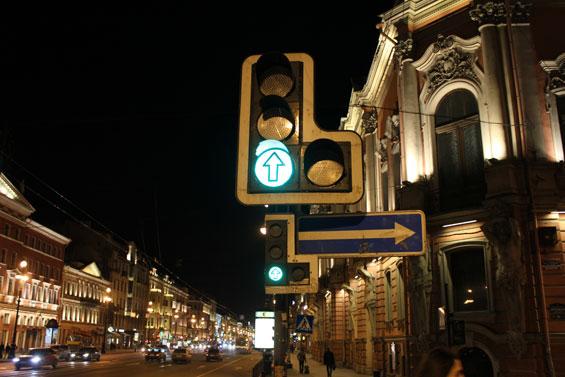 маленький дублирующий светофор на Невском проспекте