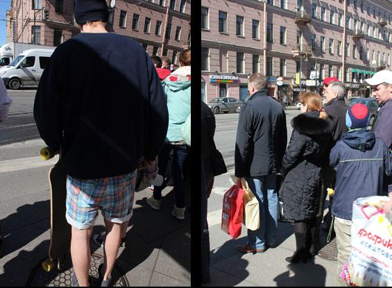 контраст в одежде в Питере