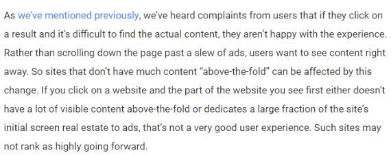 google об избыточности рекламы в пером экране